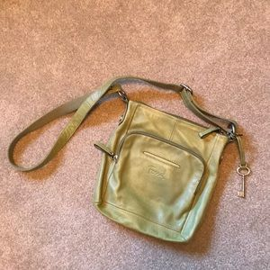 Green leather crossbody purse